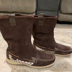 Sperry suede chocolate boots- 7 1/2